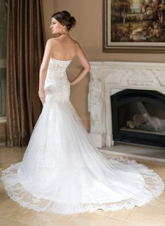 A-Line/Princess Sweetheart Chapel Train Satin Tulle Wedding Dress With Lace Beadwork Sequins (002000377)