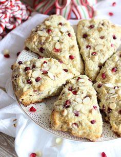 pomegranate seed white chocolate almond scones