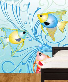 Cool wall mural. Great for a bathroom. What fun!