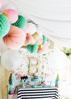 Cue the Confetti Party! Sequins, stripes, glitter, tassels, gold, dessert table, and tissue balls. So pretty for any girl's birthday party!