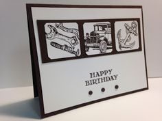 Guy Greetings, Masculine Birthday Card, Stampin' Up!, Rubber Stamping, Handmade