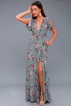 Fiorire Slate Blue Floral Print Wrap Maxi Dress 2