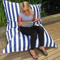 Blue & White Striped Beanbag Cover