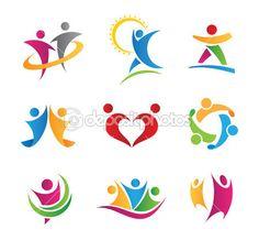 Luxus, bunte social-Community Menschen in Aktionsvorlage Logos und icons — Stockilllustration #31226753