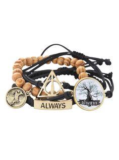 <p>Set of four bracelets with <i>Harry Potter</i> themed designs.</p>  <ul>  <li>Adjustable</li>  <li>Imported</li> </ul>