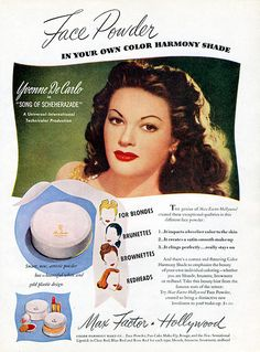 "Yvonne De Carlo for Max Factor and promoting her new movie ""Song of Scheherazade"" (1947)"