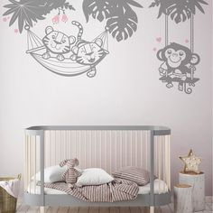 E-Glue giant wall decals are a quick and easy way to add an enchanted and cute scene to your nursery walls. Look how these baby animals wall stickers make a stunning focal point as a backdrop to a contemporary crib.