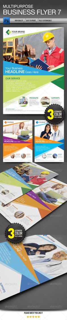 Buy Multipurpose Business Flyer 7 by olaylay on GraphicRiver. Multipurpose business flyer suitable for corporate, college, and other business It's just easily edit to fit your nee. Branding Your Business, Business Brochure, Business Flyer, Brochure Design, Flyer Design, Branding Design, Corporate Flyer, Corporate Design, Safety Pictures