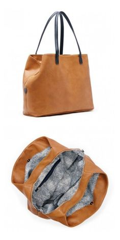 Spacious cognac tote bag with three inside compartments