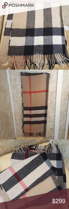 Authentic Burberry Wool & Cashmere Scarf Classic, signature Burberry 90% wool & 10% cashmere scarf. Thick, long & cozy. Like new. Made in Scotland. Cream, black & red. Burberry Accessories Scarves & Wraps