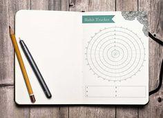 Circular habit tracker on a rustic wood background