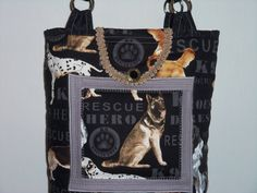 DOG  RESCUE  HERO  Tote Bag QuiltedPurseKnitting by SewNSewSister Awesome handbag! #DogLover #Handbag #DogHero