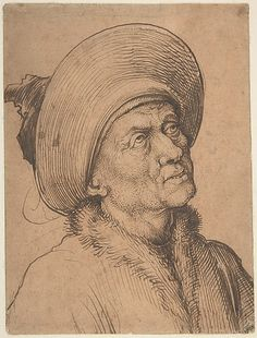 Bust of a Man in a Hat Gazing Upward Martin Schongauer (German, Colmar ca. 1435/50–1491 Breisach) Date: ca. 1480–90 Medium: Pen and carbon black ink, over pen and brown ink, on paper prepared with sanguine wash