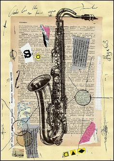 Jazz Night - mixed media collage