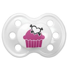 Cupcakes w/Heart Crossbones Pacifier