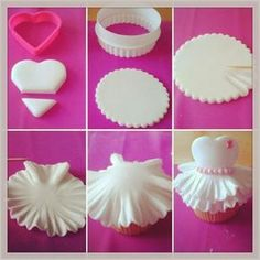 Who doesn't like cupcakes? Here is an amazing tutorial to make your own Ballerina Cupcakes ! Fondant Toppers, Fondant Cupcakes, Cupcake Cakes, Diy Cupcake, Decorate Cupcakes, Kid Cakes, Marshmallow Fondant, Baking Cupcakes, Cupcake Tutorial