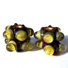 Handmade Lampwork Glass Beads Yellow Bubble by PomegranateGlass