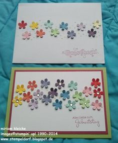 Birthday Card and Envelope I like the idea of the little flowers. What a great way to use up scraps of paper by punching out all the flowers and having them on hand for this type of card.