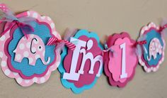 "Elephant  Hot Light Pink Turquoise Polka Dot ""I'm 1"" High Chair Age Banner Girl Baby Shower Birthday Decorations Wedding Love Shabby Chic on Etsy, $18.00"