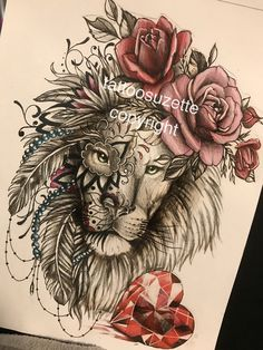 lion tattoo design mandala
