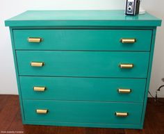 Turquoise Aqua Teal Dresser with modern brass drawer pulls by Kirsten @WhiteButterflyFurniture for @Carver Junk Company Vintage. This would be a perfect changing table, too bad it's sold! Carver Junk Company | Recycle. Repurpose. Relove.