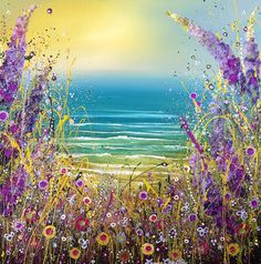 'Will you marry me?' Beautiful painting from Leanne Christie. purple flowers, glitter, warm sun, contemporary decorative art, far shores, hedgerow
