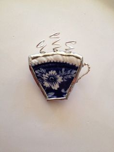 Blue Broken China Coffee Tea Cup Brooch by Mysticglassduo on Etsy, $30.00