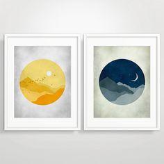 Large Print Set, Starry Night, Midcentury Modern Art, Kids Wall Art on Etsy, $58.00