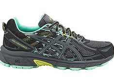 The ASICS Womens GelVenture 6 RunningShoesBlackCarbonNeon Lime Rearfoot GEL Cushioning System Attenuates shock throughout affect part and permits for a clean transition to midstance. Removable Sockliner A sockliner Clout Trail Shoes, Trail Running Shoes, Black Running Shoes, Road Running, Asics Gel Venture, Best Walking Shoes, Asics Women, Best Sneakers, Boots Online