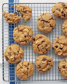 These flourless chocolate chip and peanut-studded peanut butter cookies are a snap to make. Kids will love to help mix the dough and shape the cookies.