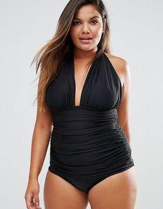 ASOS CURVE Ruched Halter Swimsuit - Black Baddräkter Stora Storlekar 386536203ec6b