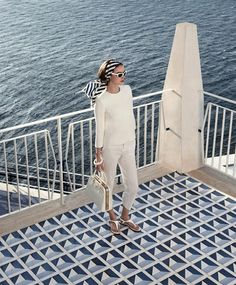 blue, navy, white, pants, T shirt, scarf, sunglasses. Nautical, ocean, retro, summer. Luxe Life & Style Blog