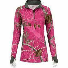 REAL TREE | Pink camo half zip Half zip nylon camouflage sweatshirt with thumb holes NWOT realtree Jackets & Coats
