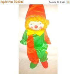 Vintage Kamar Clown Plushie,Huggable,Creepy Cute Clown Plushie, Stuffed Clown,Kitsch,Clown,Vintage Clown Plushie, Kitschy Cute by JunkYardBlonde on Etsy