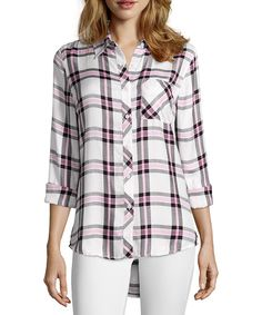 pink and black plaid flannel button front shirt