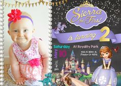 Sofia the First Birthday Party Invitation Invite Sophia Disney Princess