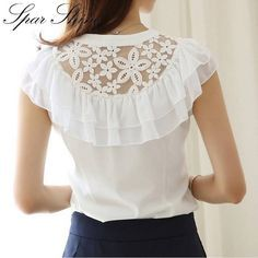 shirt textile on sale at reasonable prices, buy 2016 Fashion Summer Women Blouse Elegant Butterfly Sleeve Crochet Lace Chiffon Shirt Women Tops Office Shirt Plus Size Blusas from mobile site on Aliexpress Now!Latest sleeve designs to try with designe Diy Fashion, Ideias Fashion, Fashion Outfits, Fashion Black, Fashion Shorts, Chiffon Shirt, Ruffle Blouse, Lace Chiffon, Chiffon Blouses