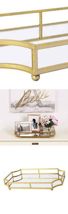 """Kate and Laurel Ciel Metal Mirrored Ornate Decorative Tray, 18"""" x 12"""", Gold Leaf Finish"""