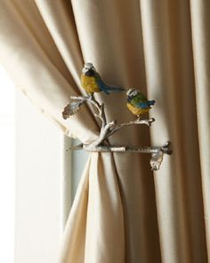 2 feathered friends curtain tiebacks