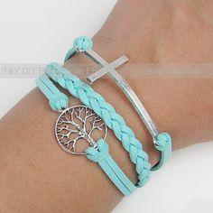 Cross Bracelet, Tree of Life Bracelet, Charm Bracelet, Leather Braid Bracelet Thin Leather Cord Adjustable Weave Bangle with Extension Chain