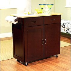 Mainstays Kitchen Island Cart Multiple Finishes 120 Butcher Block Top On Casters With A Drop
