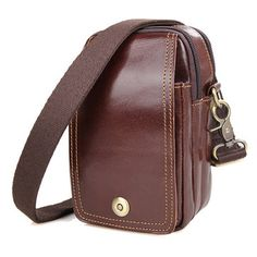 Ekphero Men Casual Genuine Leather Oil Wax Chest Bag Crossbody Bag