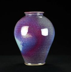 Porcelain Purple & Blue Vase | Hand thrown porcelain on a potter's wheel.  High Fired, Cone 10, Assorted Glazes, Hand Trimmed, Ceramic | Caldwell Pottery