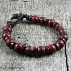 Mens Mala Bracelet, Leather, Natural Wood Beaded, Prayer Style, Yoga, Surfer, Red, Brown