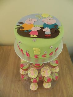 2nd birthday Peppa Pig cake and cupcakes - chocolate cake and vanilla cupcakes