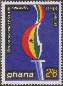 Sello: Torch (Ghana) (The 3rd anniversary of the republic) Mi:GH 152,Sn:GH 146