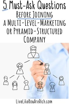 What You (or someone you know) Needs to Know before Joining a Multi-Level Marketing Company. These 5 Must-ask questions will help prevent you from getting burned. #LiveLikeYouAreRich