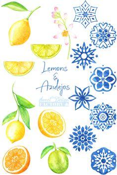 Beach Clipart, Summer Clipart, Wedding Stationary, Wedding Invitation, Lemon Clipart, Lemon Watercolor, Clip Art, Stock Art, Textile Printing