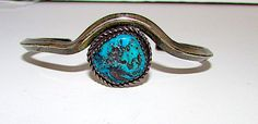 Old Pawn Navajo Sterling Silver Turquoise Cuff Bracelet Native American Vintage Bracelet