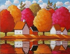 Fall Tree Colors Landscape Water Reflections Art Print Wall Decor by Horvath, Modern Folk Art, Autumn River Cottage, 2 Sizes Artwork Reproduction #LandscapeArtwork
